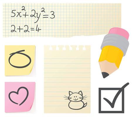 Pencil, paper and scribbles. Vector