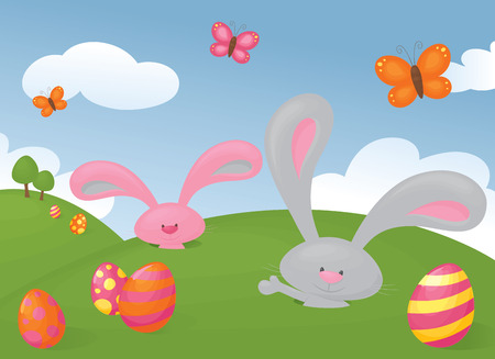 the rabbit hole: Bunnies pop out their burrows to welcome in Easter. Illustration