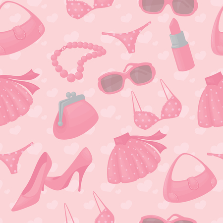 Seamless girly accessories background. Vector