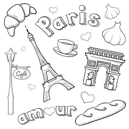 Paris icons and rough representations of the Eiffel Tower and Arc de Triomphe done with brush stroke and pencil stroke in Software. Vector
