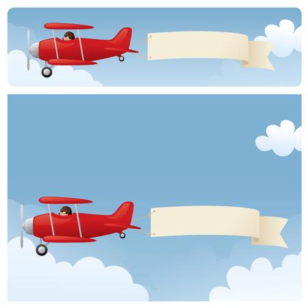 pull toy: Biplanos rojas, remolcando su mensaje.