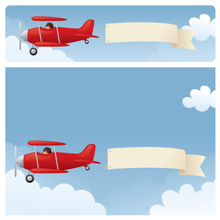 Red biplanes, towing your message.