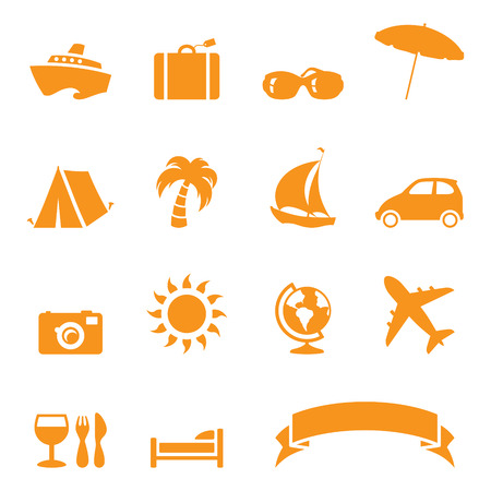 Holiday/travel icons. No gradients used. Items individually grouped. Easy to change colour.
