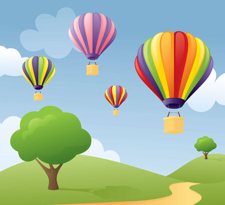 ballooning: Perfect weather for ballooning. Illustration
