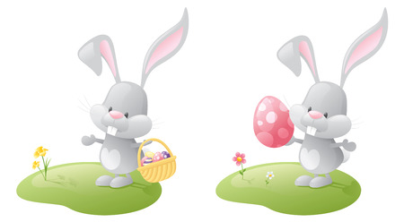 giant easter egg: Easter bunny on a patch of grass with a basket and a giant easter egg. Illustration