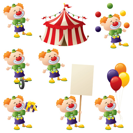 clown nose: Set of clowns in action complete with circus tent. Illustration