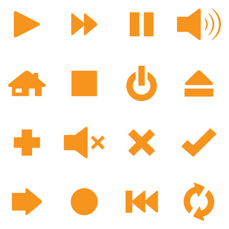 Individually grouped simple control icons. Symbols can be reflected and rotated. Vector