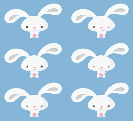 Siix Easter bunnies in a variety of poses Illustration