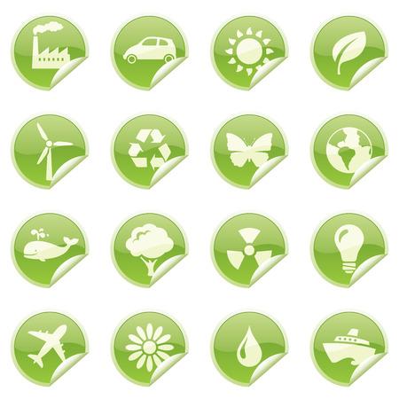 environmentally: Glossy environmentally friendly sticky icons.
