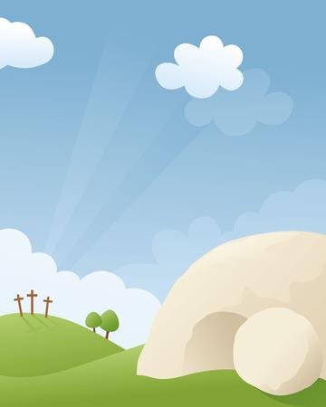 イースターの朝に空の墓。  イラスト・ベクター素材