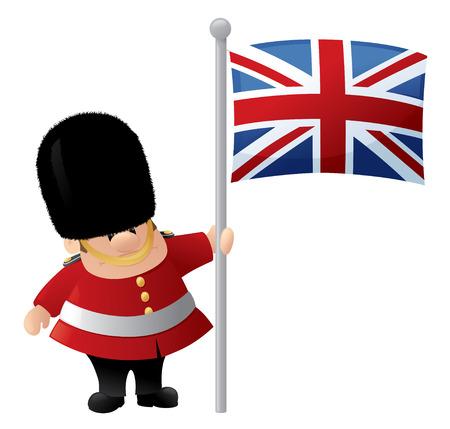 bearskin hat: Queens Guard holds Union Jack. Illustration