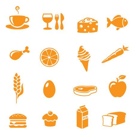 comida chatarra: Varios iconos de alimentos y bebidas.