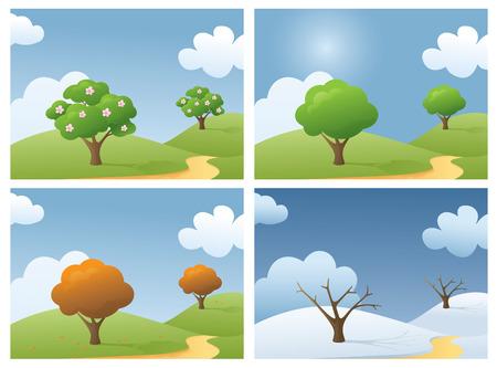 Countryside scene in 4 seasons.