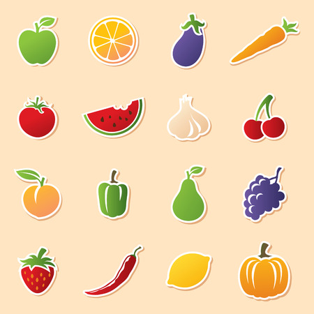 fruit and veg: Colourful fruit and veg icon stickers. Easy to remove white outline and shadow and use icons without.