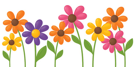 daisy stem: Colourful daisies individually grouped and gradient free. Illustration