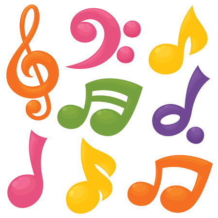 representations: Colourful representations of some of the main musical symbols.
