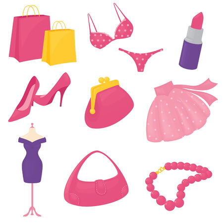 knickers: Girly accessory icons. Gradient free. Illustration