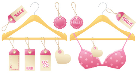 coathanger: Sales tags and cotheshangers with a feminine feel.