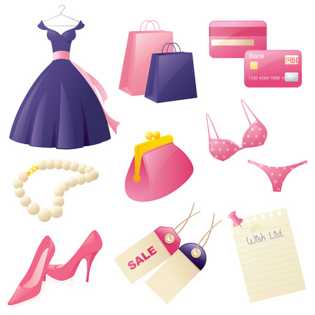 Girly shopping elements. Vector