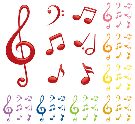 sixteenth note: Glossy music notes in a variety of colours. Illustration