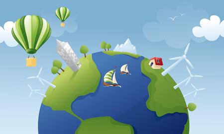 wind powered building: Greener world. Illustration