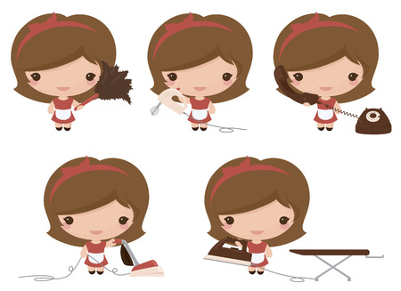 Retro housewife with feather duster, electric whisk, telephone, vacuum cleaner and iron. Vector