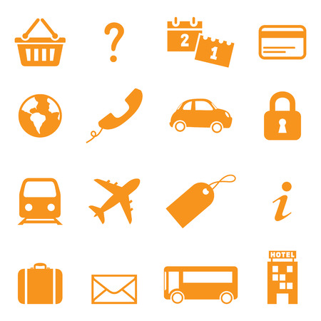 Icons for online travel booking. Easy to change colour. Vector