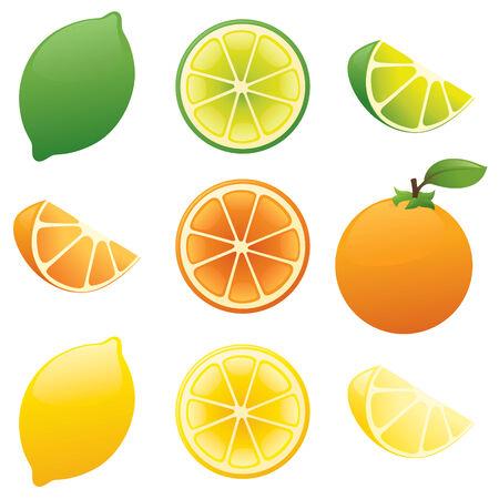 Limón, lima, naranja.