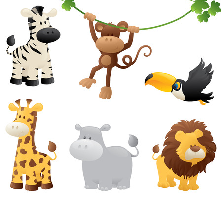 Sechs Dschungel Tiere. Standard-Bild - 32711207