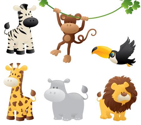 tiere: Sechs Dschungel Tiere. Illustration