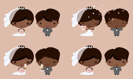Bride and groom in Kawaii style. Gradient free. 向量圖像