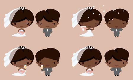 Sposa e sposo in stile Kawaii. Gradiente gratuito. Archivio Fotografico - 32711209