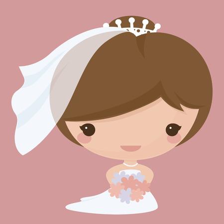 Bride in Kawaii style. Gradient free.