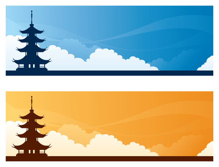 copyspace: Pagoda day and sunset sky banners with copyspace.
