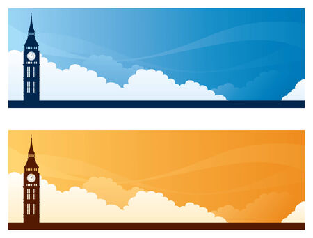 copyspace: Big Ben day and sunset sky banners with copyspace. Illustration