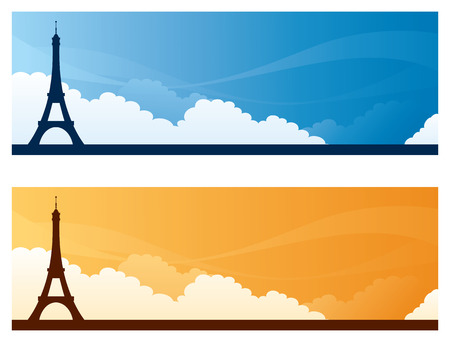 copyspace: Eiffel Tower day and sunset sky banners with copyspace.