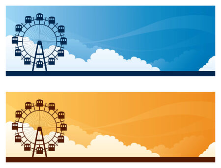 big wheel: Prater Park day and sunset sky banners with copyspace.