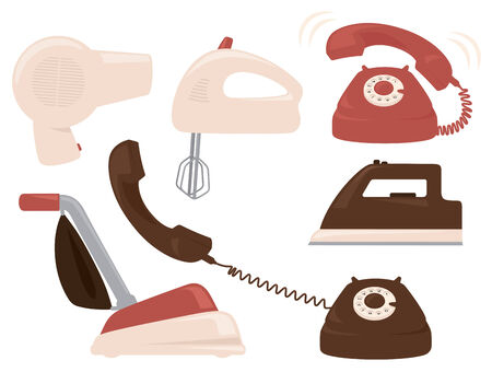 old fashioned: Old fashioned household appliances. Illustration
