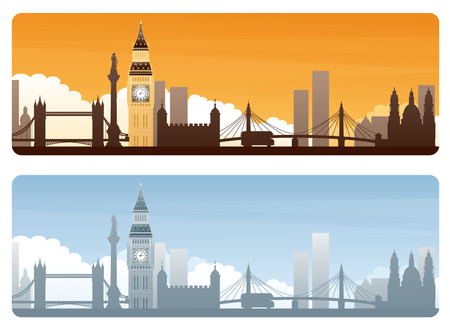 copyspace: Big Ben and silhouetted London landmarks on day and sunset banners with copyspace. Illustration