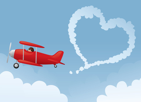Red biplane drawing a heart in the sky.