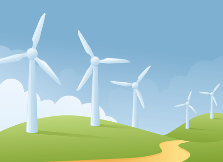 Wind turbine grassy scene. Illustration