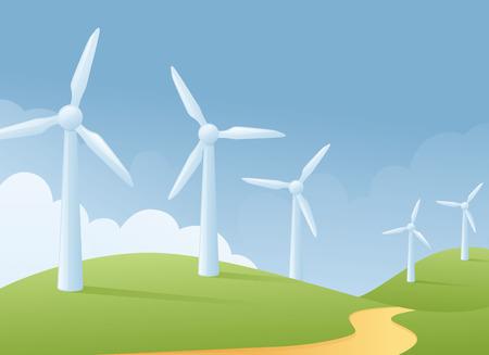 grassy: Wind turbine grassy scene. Illustration