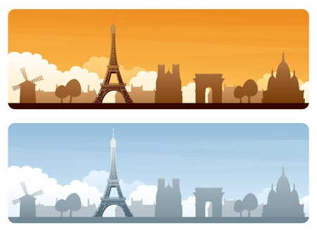 paris skyline: Eiffel Tower and silhouetted Paris landmarks on day and sunset banners with copyspace. Illustration