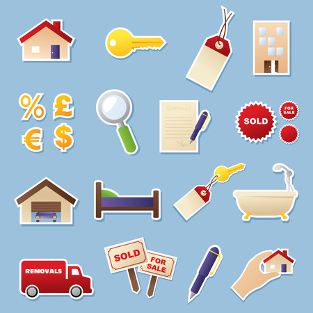 removal van: Real estate sticker icons. Simple gradients, easy to change colour. Easy to remove white outline and shadow and use icons without. Illustration