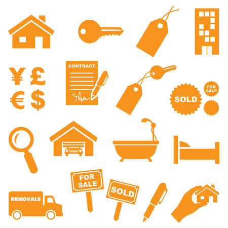 removal van: Real estate icons.  Illustration
