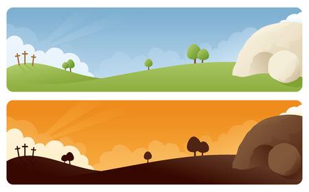 tumbas: Banners escena de la resurrección en la luz del día y el amanecer  atardecer. Vectores