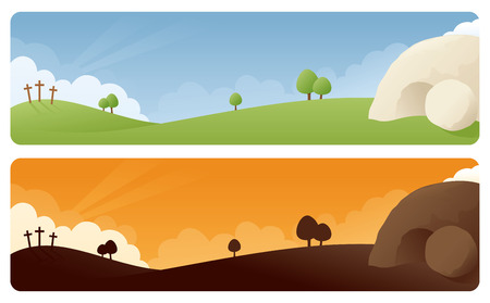green cross: Resurrection scene banners in daylight and sunrisesunset. Illustration