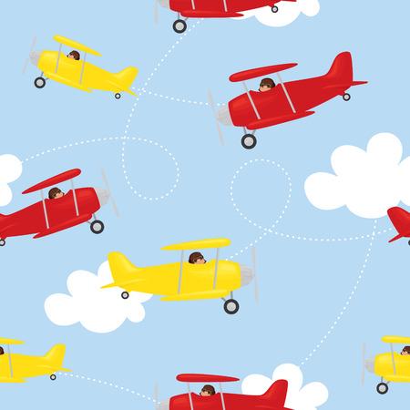biplane: Seamless biplane background. Gradient free. Illustration