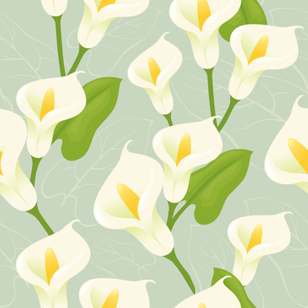 Seamless lily background. Vector