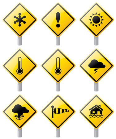 hazard sign: Weather warning signs. Can use without poles.